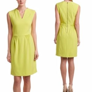 Tahari🌿Kiwi Lime Creme Ruffle Sheath Dress 4